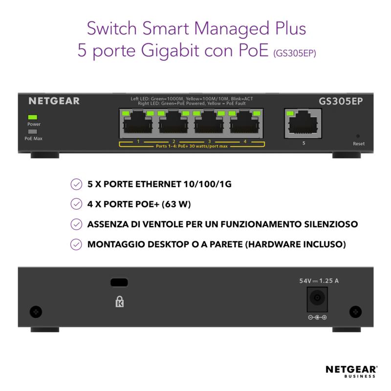NETGEAR GS305EP Switch Smart Managed Plus PoE+